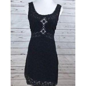 Free People Black Lace Crochet Details Sexy Dress